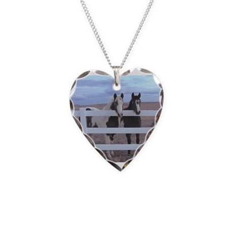 Horse Necklace Heart Charm