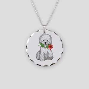 Westie with Flower Necklace Circle Charm