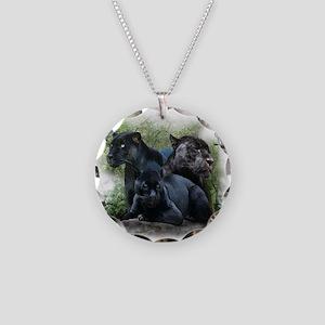 Black Jaguar Necklace Circle Charm