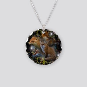 Foxes Necklace Circle Charm
