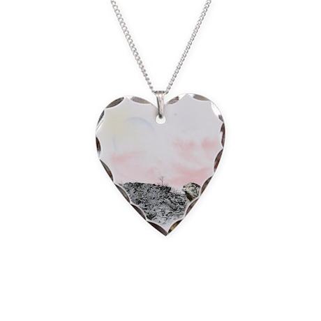 Snow Leopard Necklace Heart Charm