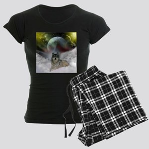 Fantasy Wolf Women's Dark Pajamas