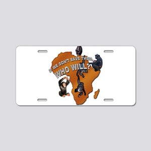 Save The Chimps Aluminum License Plate