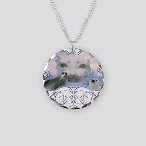 Harp Seal Necklace Circle Charm