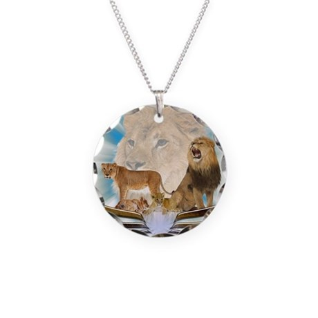 Lions Necklace Circle Charm