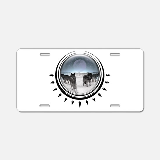 Wolf Orb Silver Aluminum License Plate
