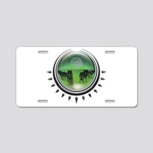 Wolf Orb Green Aluminum License Plate