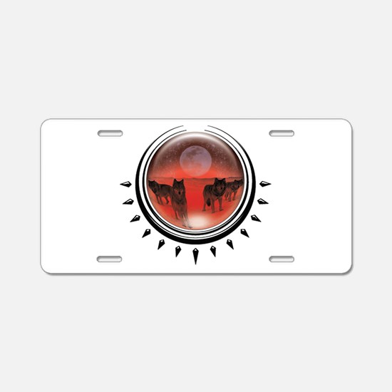 Wolf Orb Red Aluminum License Plate