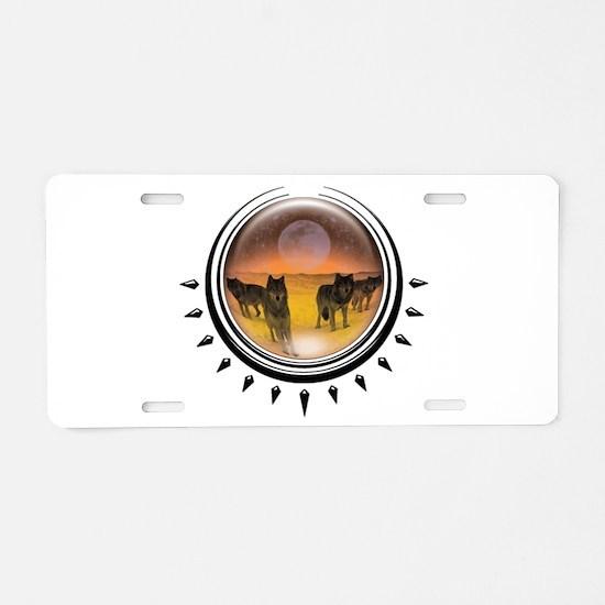 Wolf Orb Orange Aluminum License Plate