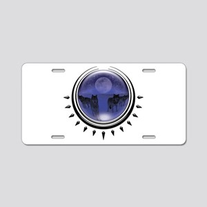 Wolf Orb Blue Aluminum License Plate