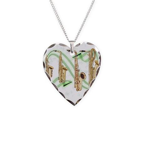 Saxophones Necklace Heart Charm