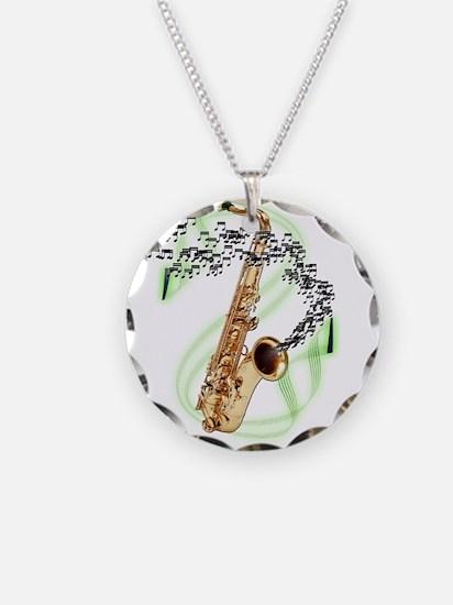 Tenor Saxophone Necklace Circle Charm
