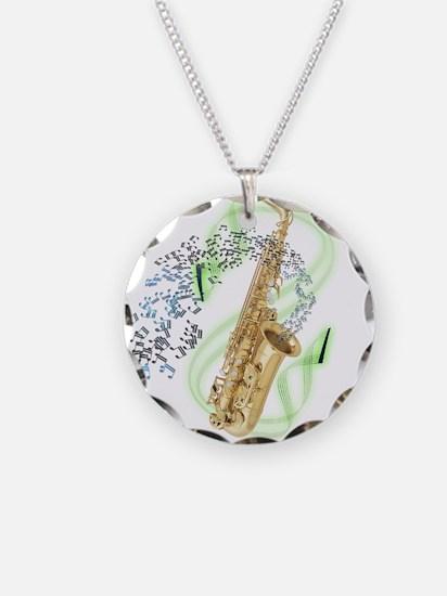 Alto Saxophone Necklace Circle Charm