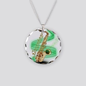 Saxophone Wrap Necklace Circle Charm