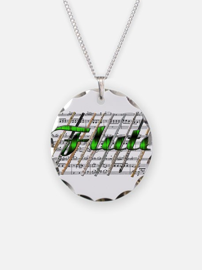 Flute Necklace Circle Charm