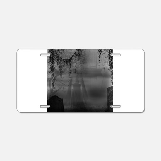 Dark Places Aluminum License Plate