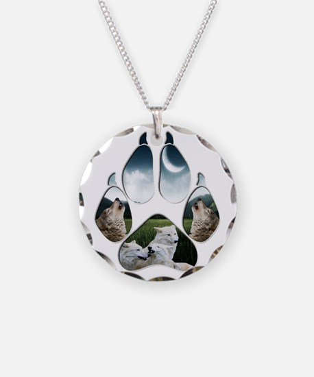 Wolf Print Necklace Circle Charm