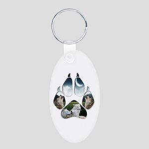 Wolf Print Aluminum Oval Keychain