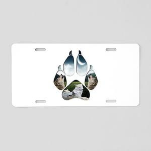 Wolf Print Aluminum License Plate