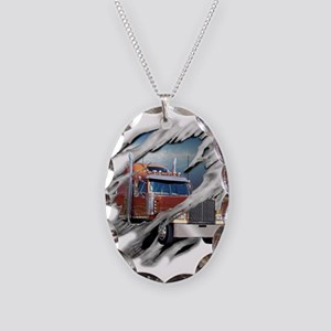 Torn Trucker Necklace Oval Charm