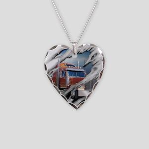 Torn Trucker Necklace Heart Charm
