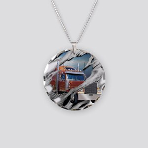 Torn Trucker Necklace Circle Charm