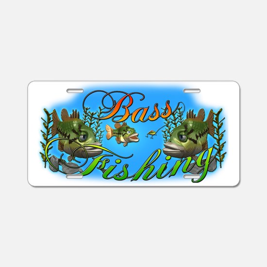 Bass Fishing Aluminum License Plate