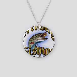 Musky Fishing 2 Necklace Circle Charm