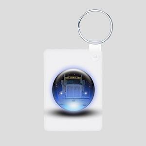 Trucker's Crystalball Aluminum Photo Keychain