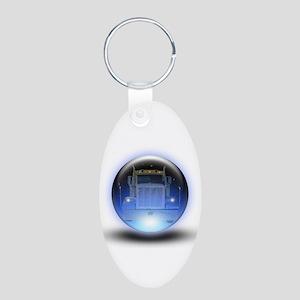 Trucker's Crystalball Aluminum Oval Keychain