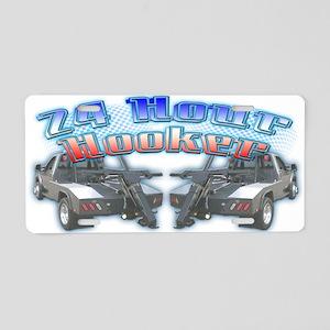24 Hour Wrecker Aluminum License Plate
