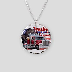 Trucking USA Necklace Circle Charm