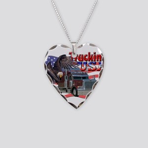 Trucking USA Necklace Heart Charm