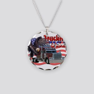 Trucking USA Necklace Circle Charm
