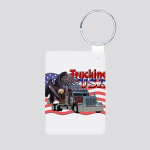 Trucking USA Aluminum Photo Keychain