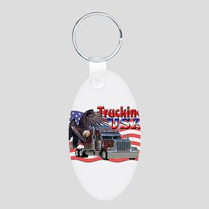Trucking USA Aluminum Oval Keychain