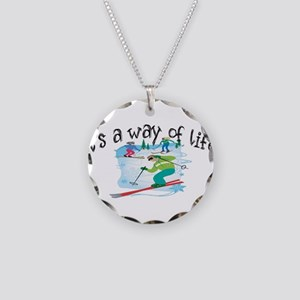 Skiing Necklace Circle Charm