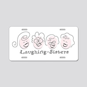 Laughing-Sisters Aluminum License Plate