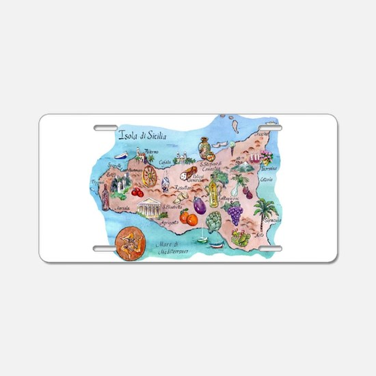 Map Of Sicily Aluminum License Plate