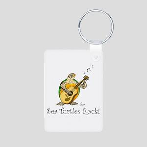 Sea Turtles Rock Aluminum Photo Keychain