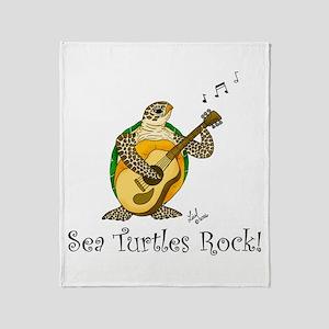 Sea Turtles Rock Throw Blanket