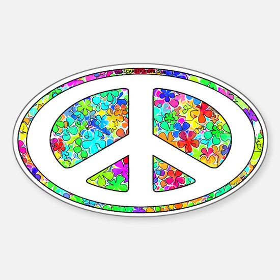 Peace Groovy Floral Sticker (Oval)