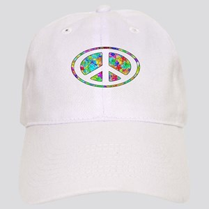 Peace Groovy Floral Cap