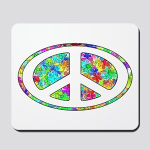 Peace Groovy Floral Mousepad