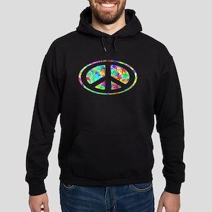 Peace Groovy Floral Hoodie (dark)