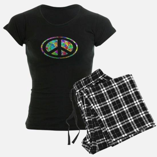 Peace Groovy Floral Pajamas