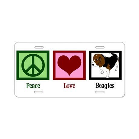 Peace Love Beagles Aluminum License Plate