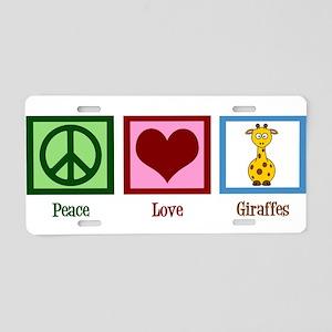 Peace Love Giraffes Aluminum License Plate