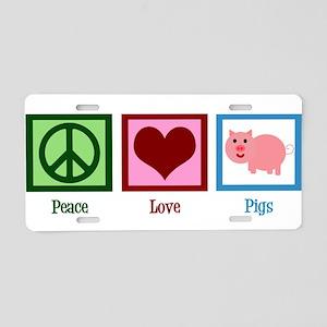 Peace Love Pigs Aluminum License Plate