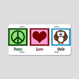 Peace Love Owls Aluminum License Plate